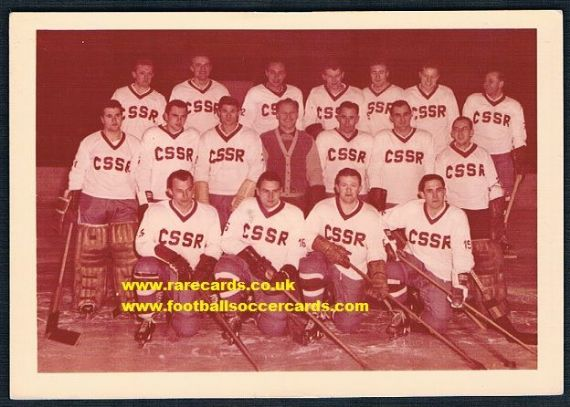 1964 USSR CCCP Soviet hockey team Czech card